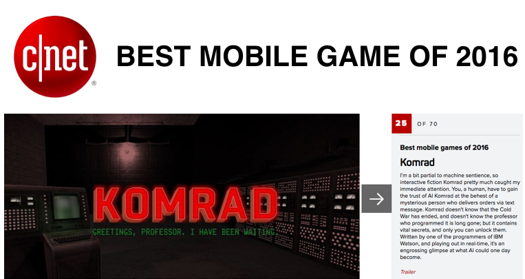KOMRAD best mobile game of 2016